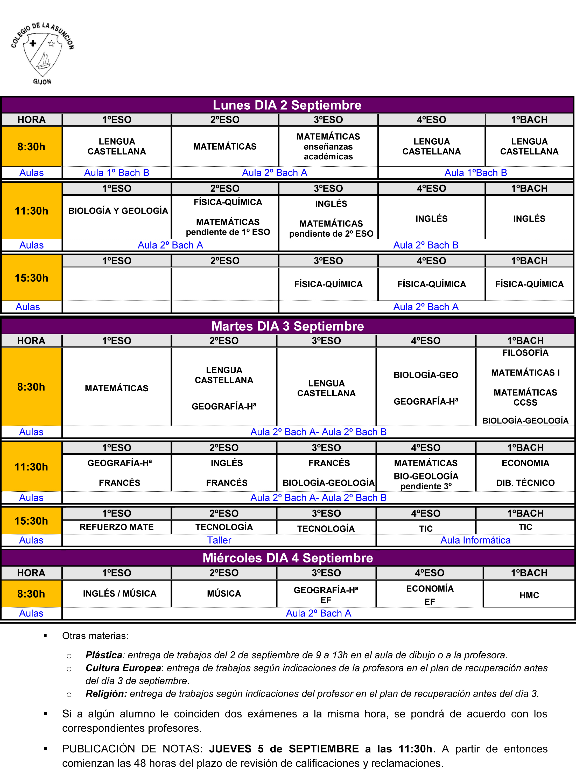 Calendario Examenes Unican Derecho.Calendario Escolar Educastur